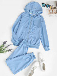 Zip Up Pockets Two Piece Sweat Suit - Light Blue L