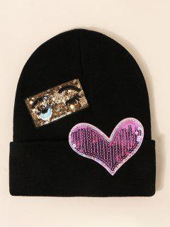Bonnet Tricoté Motif Cœur à Paillettes - Noir