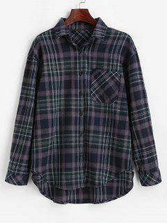 Plaid Pocket Button Up Shirt - Midnight Blue M