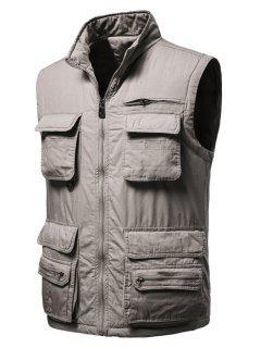 Zip Up Multi Pockets Padded Vest - Light Coffee Xl