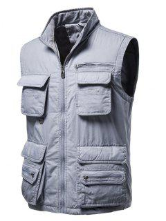 Zip Up Multi Pockets Padded Vest - Light Gray M