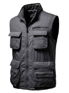 Zip Up Multi Pockets Padded Vest - Dark Gray M