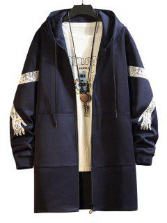 Hooded Printed Sleeve Zip Pocket Trench Coat - Cadetblue L