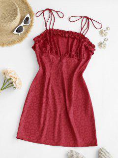 Leopard Tie Shoulder Lettuce Trim Bodycon Dress - Red M