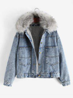Fluffy Lined Denim Jacket With Detachable Faux Fur Collar - Blue M