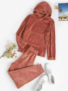 Embroidered Lounge Fluffy Fleece Two Piece Set - Light Pink