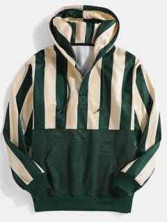 Striped Print Front Pocket Drawstring Hoodie - Deep Green Xl