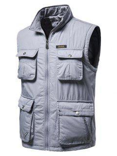 High Neck Zip Padded Pocket Cargo Waistcoat - Light Gray L