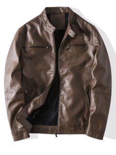 Zip Up Faux Leather Fleece Jacket - Brown M