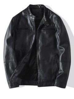 Zip Up Faux Leather Fleece Jacket - Black Xs