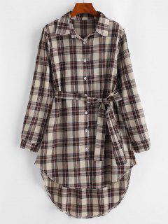 Plaid Belt High Low Shirt Dress - Multi S