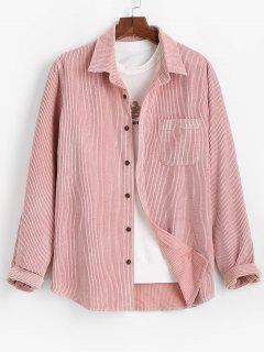Plain Pocket Patch Corduroy Shirt - Light Pink Xl