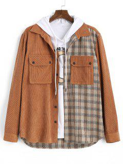 Plaid Pattern Double Pockets Button Up Jacket - Coffee S