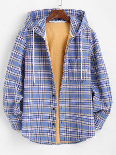 Veste à Capuche à Carreaux Imprimée Boutonnée Avec Poche En Laine - Bleu Clair S