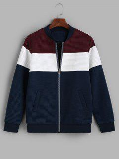 Zip Up Contrast Ribbed Jacket - Red Wine S