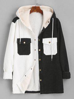 Hooded Double Pockets Contrast Fleece Corduroy Jacket - Black L