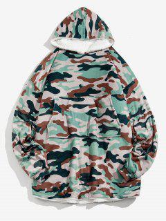 Camouflage Print Fleece Blanket Hoodie - Camouflage Green