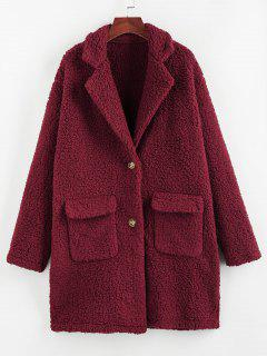ZAFUL Faux Fur Drop Shoulder Pocket Lapel Coat - Red Wine L