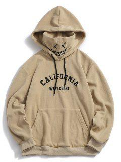ZAFUL Letter Graphic Embroidered Fleece Mask Hoodie - Khaki L