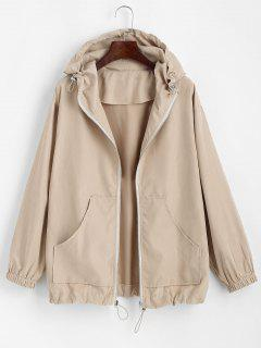 Hooded Front Pocket Drawstring Jacket - Light Coffee M