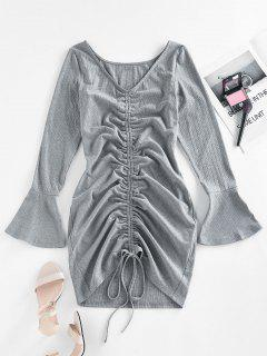 ZAFUL Ribbed Cinched Flare Sleeve Mini Dress - Gray S