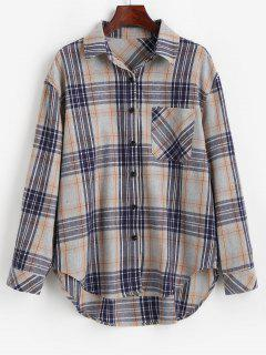 Plaid Pocket Button Up Shirt - Light Gray S