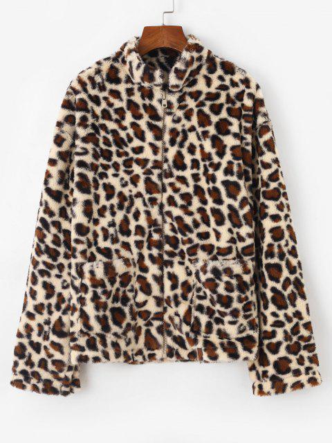 Dual Pocket Zip Up Leopard Faux Fur Coat - قهوة L Mobile