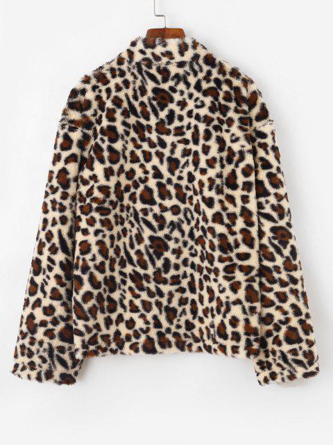 best Dual Pocket Zip Up Leopard Faux Fur Coat - COFFEE XL Mobile