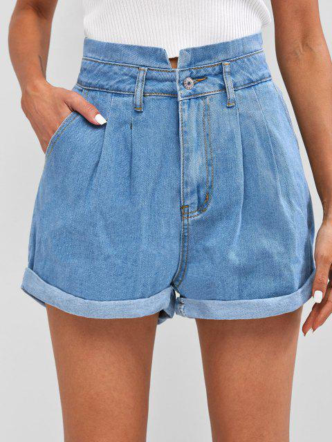 buy Pleated Cuffed Denim Shorts - BLUE S Mobile