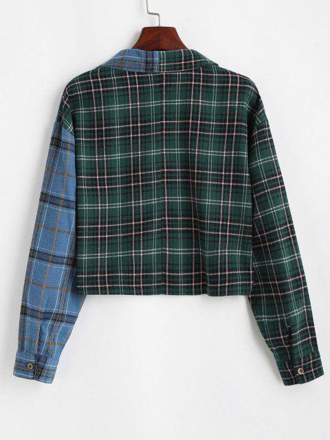 shop Button Down Contrast Plaid Shirt Jacket - GREEN S Mobile