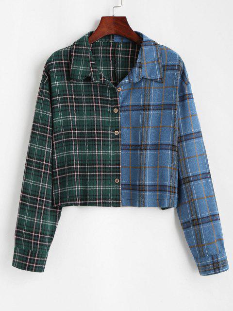 women Button Down Contrast Plaid Shirt Jacket - GREEN XL Mobile