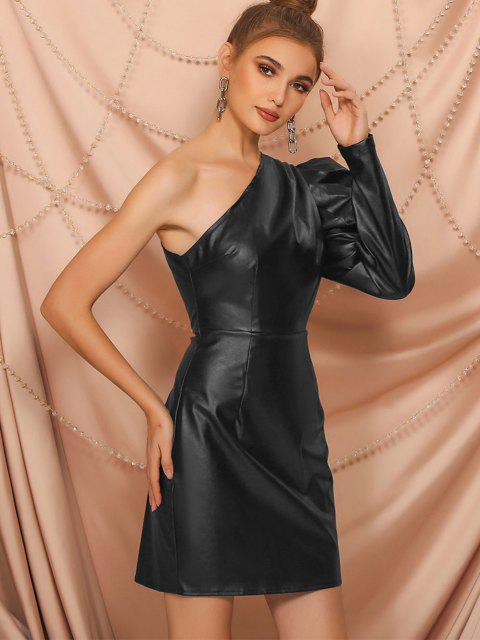 womens One Shoulder Faux Leather Gigot Sleeve Sheath Dress - BLACK L Mobile