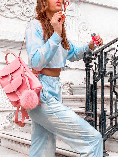 trendy Raw Hem Cropped Tie Dye Sweatshirt - DAY SKY BLUE M Mobile