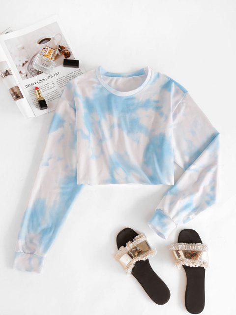 trendy Raw Hem Cropped Tie Dye Sweatshirt - DAY SKY BLUE L Mobile