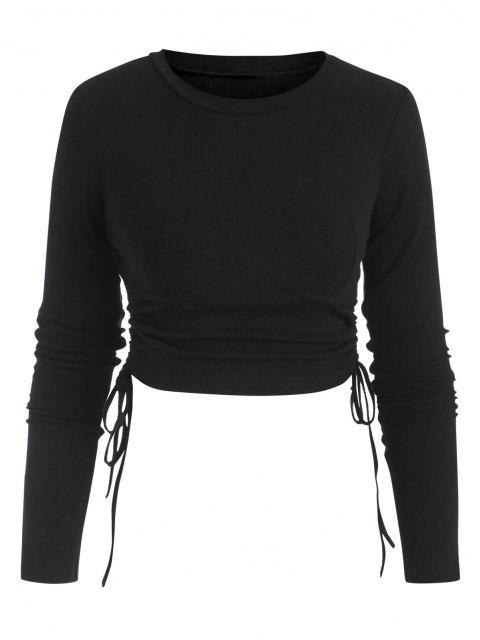 women Ribbed Side Cinched Crop Top - BLACK S Mobile