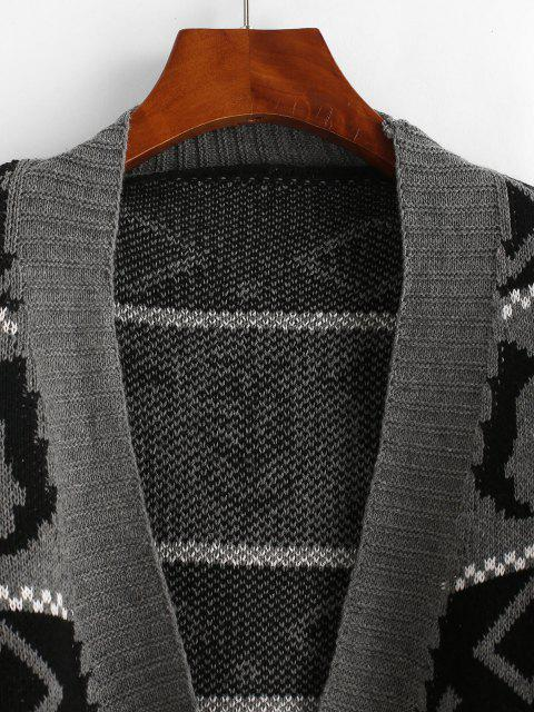 shop Graphic Front Pocket Oversized Cardigan - GRAY ONE SIZE Mobile