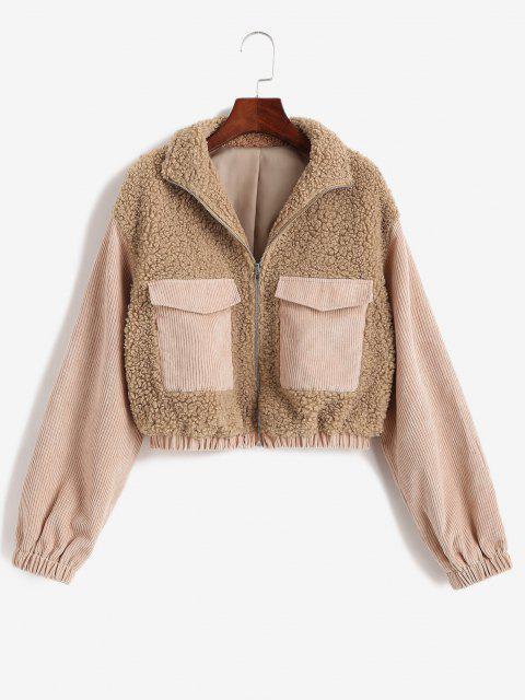 women ZAFUL Zip Up Corduroy Panel Fluffy Combo Jacket - LIGHT COFFEE S Mobile