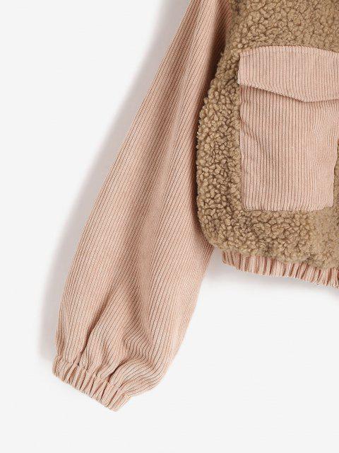 sale ZAFUL Zip Up Corduroy Panel Fluffy Combo Jacket - LIGHT COFFEE M Mobile