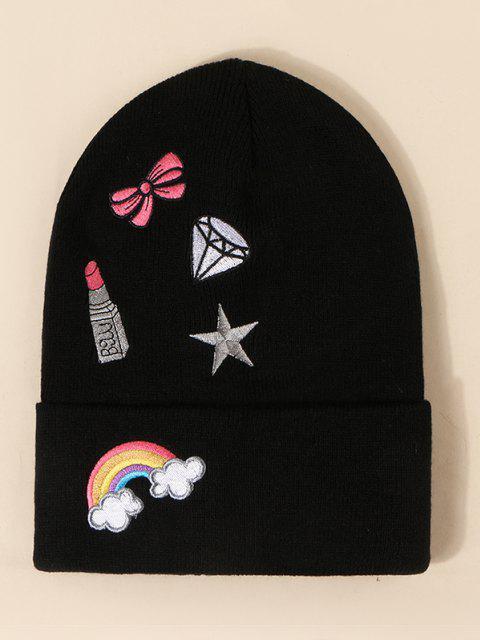 women Rainbow Bow Pattern Knit Hat - BLACK  Mobile