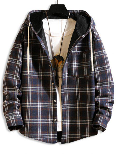 latest Hooded Plaid Print Pocket Fleece Jacket - CADETBLUE 2XL Mobile