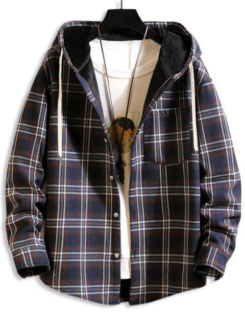 Hooded Plaid Print Pocket Fleece Jacket - طالبا الأزرق 4XL Mobile