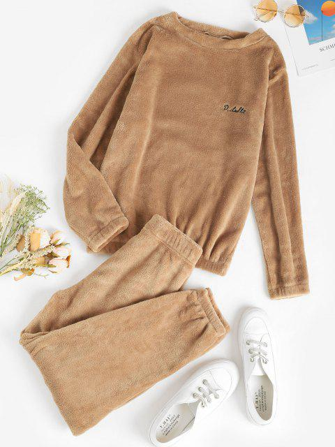 sale Lounge Embroidered Fluffy Fleece Two Piece Set - LIGHT COFFEE ONE SIZE Mobile