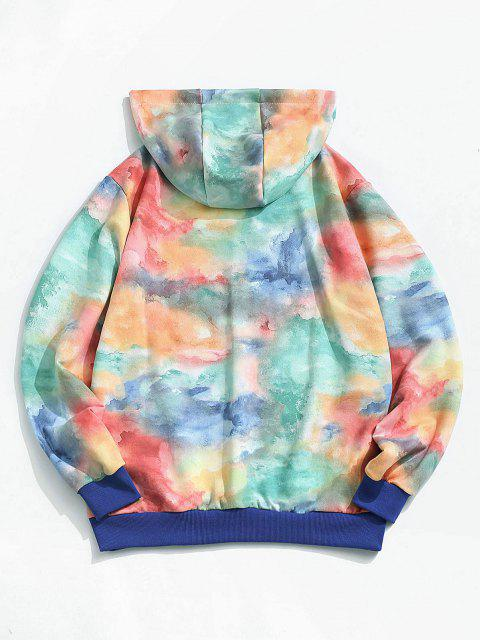 chic ZAFUL Colorful Tie Dye Print Applique Detail Hoodie - MULTI L Mobile