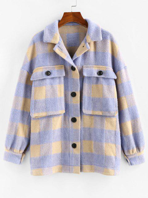 ZAFUL Checkered Drop Shoulder Pocket Coat - ضوء ارجواني M Mobile