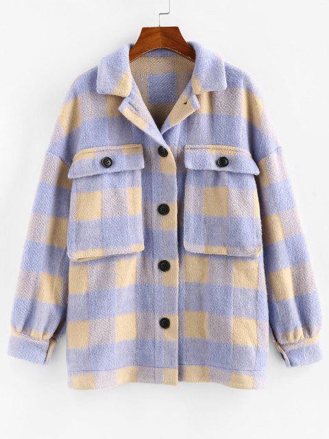 shop ZAFUL Checkered Drop Shoulder Pocket Coat - LIGHT PURPLE S Mobile