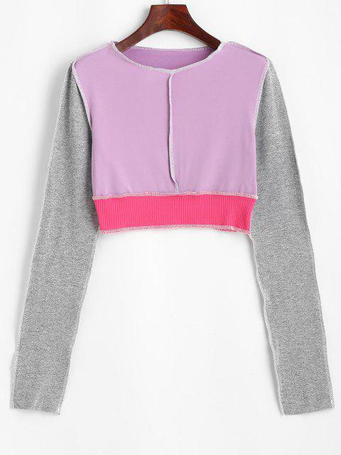 Camisola Bloco de Cores Cortado Cortado - Luz roxa M Mobile
