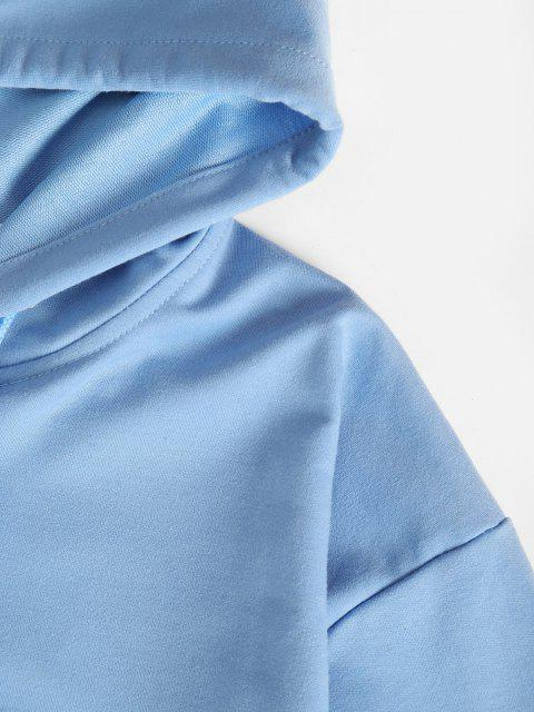 fancy Zip Up Pockets Two Piece Sweat Suit - LIGHT BLUE XL Mobile