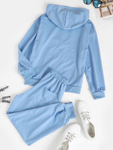 online Zip Up Pockets Two Piece Sweat Suit - LIGHT BLUE L Mobile
