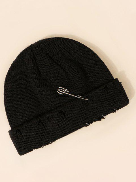 outfits Needle Metal Ring Design Ripped Knit Hat - BLACK  Mobile