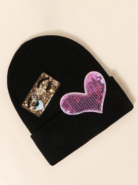 Paillette-Herz-Muster Wollmütze - Schwarz  Mobile